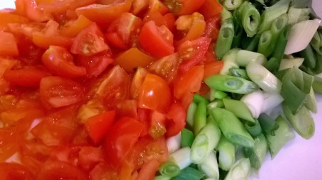 tomatoes and spring onion